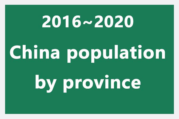 2016~2020 China population data, by province